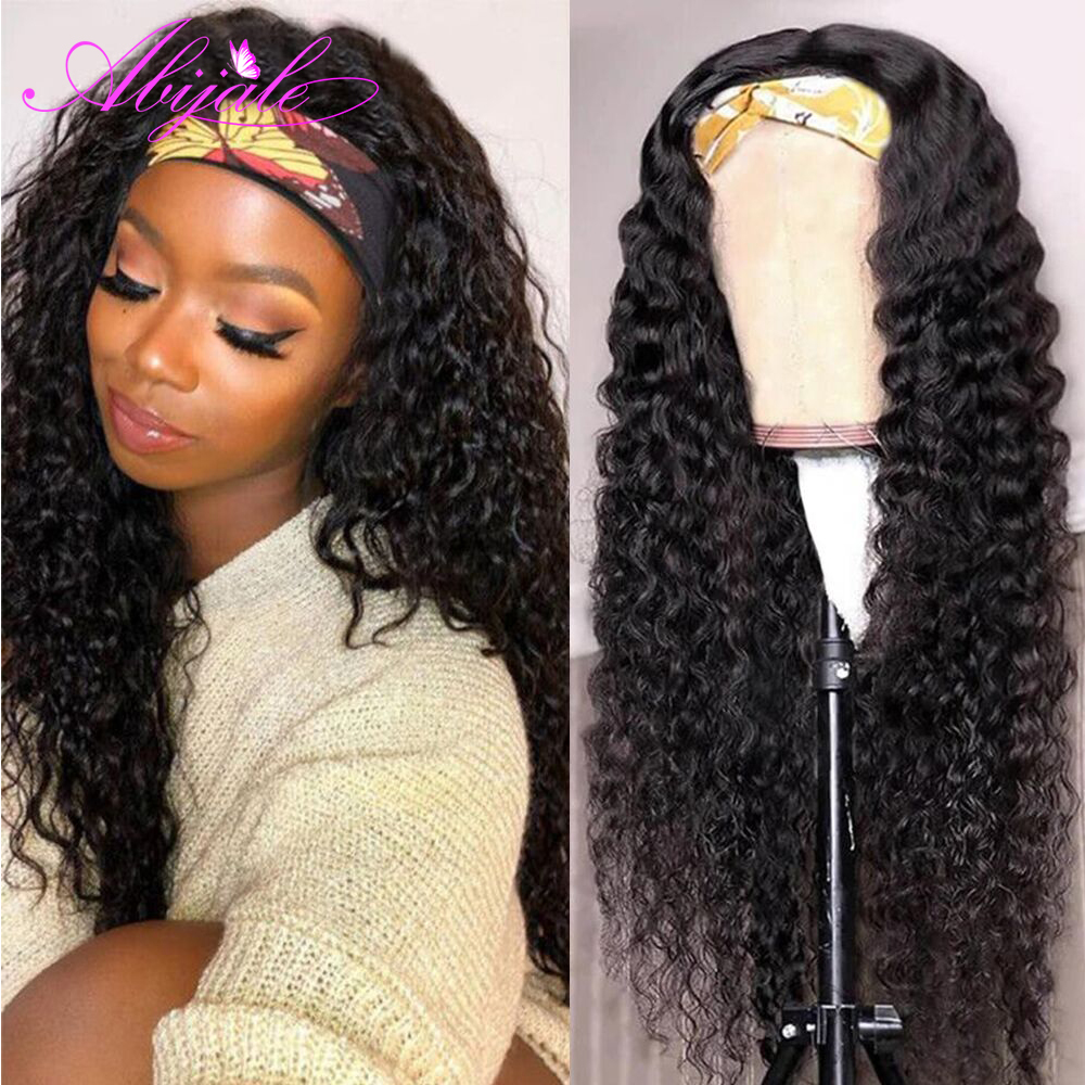 Abijale encaracolado onda bandana peruca de cabelo humano brasileiro remy onda máquina feita perucas com faixa de cabeça sem cola cachecol peruca