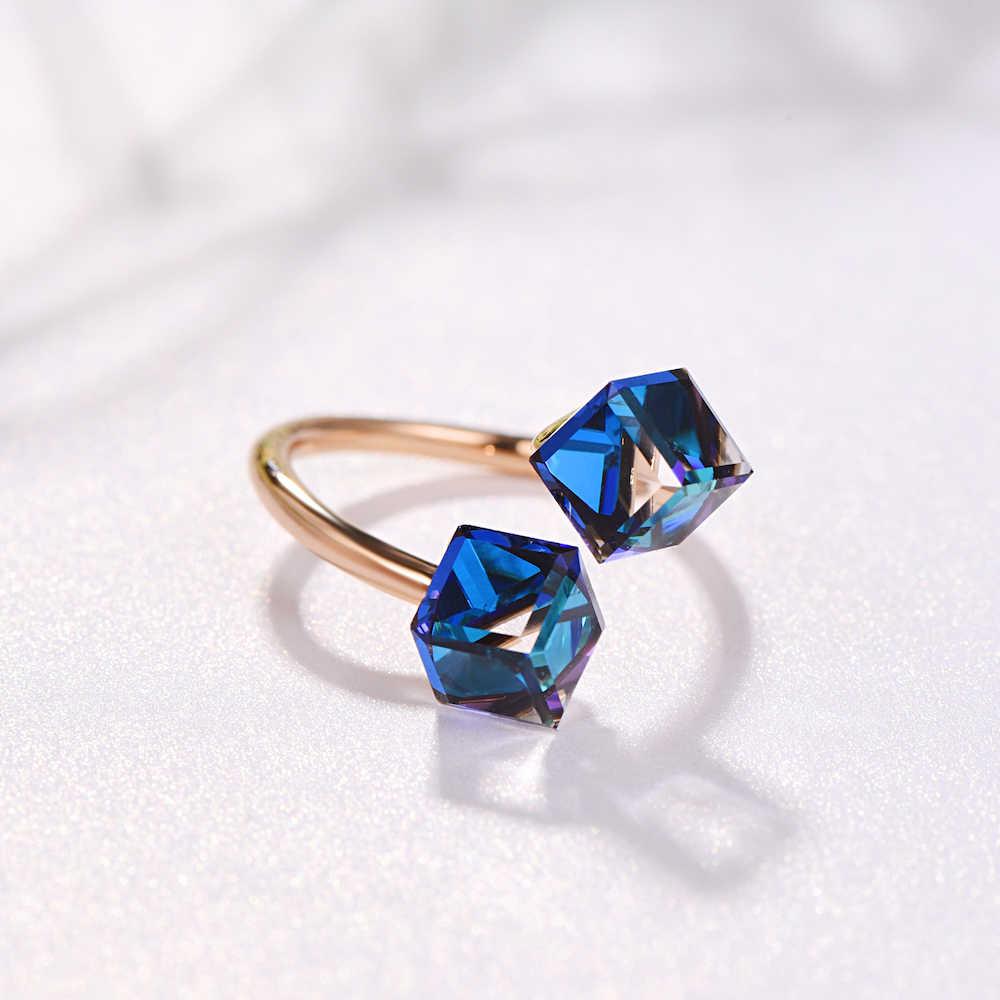 Malanda คริสตัลจาก Swarovski เปิดแหวนแฟชั่นผู้หญิงใหม่ Rose Gold สีหญิงแหวนงานแต่งงานเครื่องประดับของขวัญหญิง