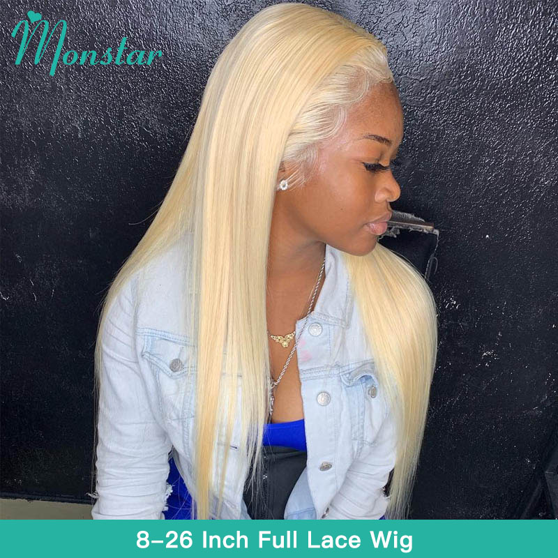 Monstar Full Lace Wig 613 Platinum Blonde Color Brazilian Straight Glueless 8   26 inch Full Lace Human Hair Wigs with Baby Hair-in Human Hair Lace Wigs from Hair Extensions & Wigs