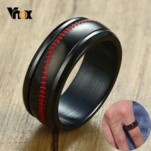 Vnox – bague rotative en acier inoxydable noir pour homme, bijou de sport pour les amateurs de Baseball