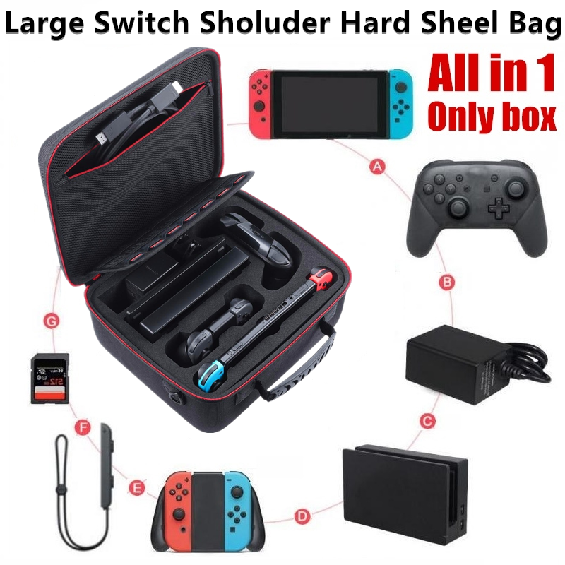 Large Hard Carrying Switch Case Bag Compatible with Switch System Switch For Switch Multifunctional Hard Shell Carry Case Box ,Bags   -