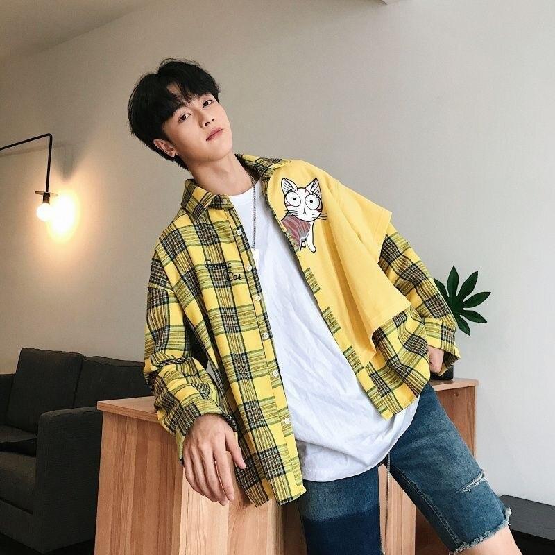NiceMix Harajuku Streetwear Blouse Men Cartoon Patchwork Shirt Men Long Sleeve Shirt Men Fashions Blouse Men Shirt Long Sleeve