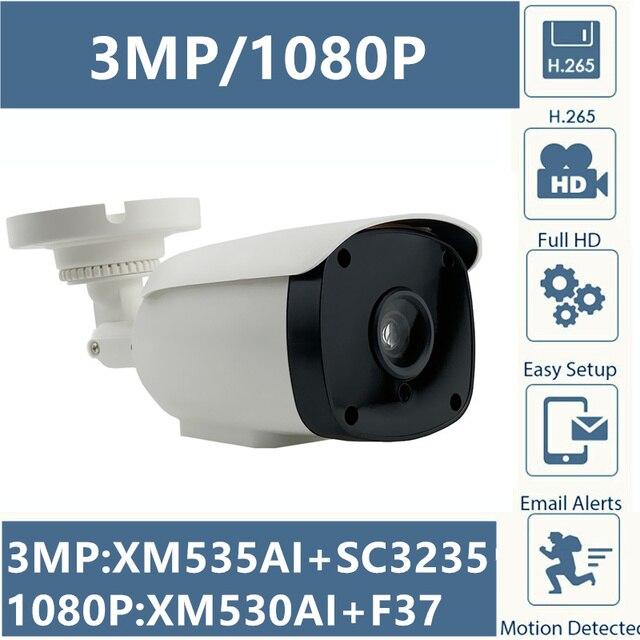 3MP 2MP IP balle caméra 6 rangée led IRC XM535AI + SC3235 2304*1296 1080P IRC ONVIF CMS XMEYE RTSP détection de mouvement P2P nuage