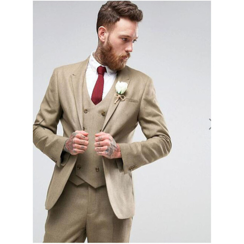 New Classic Men's Suit Smolking Noivo Terno Slim Fit Easculino Evening Suits For Men Khaki Double Breasted Groom Tuxedo Vestido