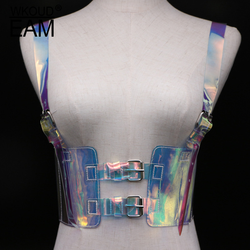 WKOUD EAM New Fashion Strap Girdle For Women Laser Transparent Lacing Tide High Street Trendy Waist Seal Female Wide Belt A141