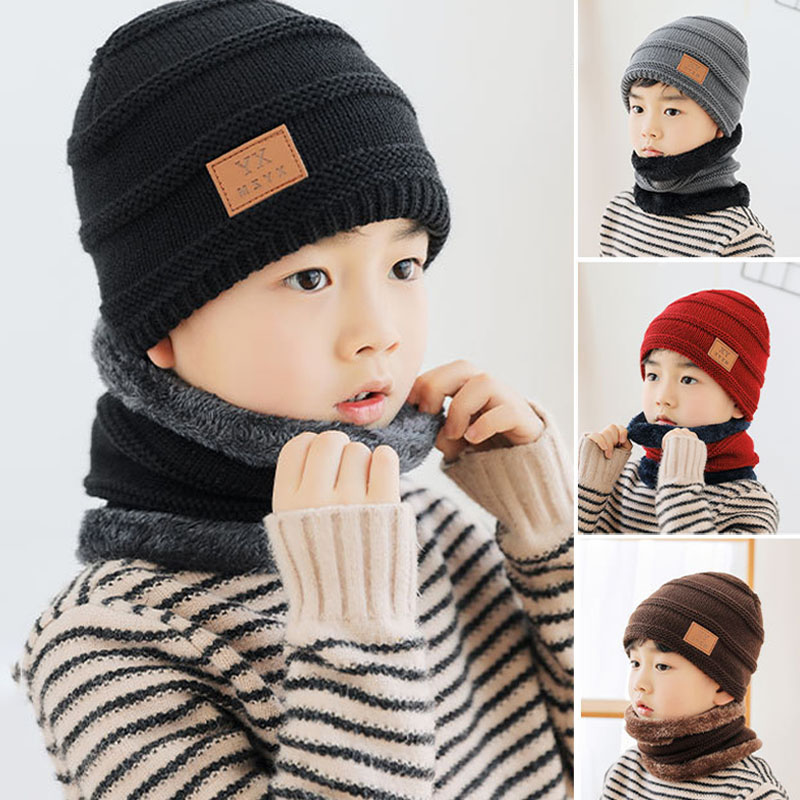 48-54CM Fashion Warm Ear Thicken Flanging  Winter Hat  Knitted Scarf Set  Children's Hat Korean Style