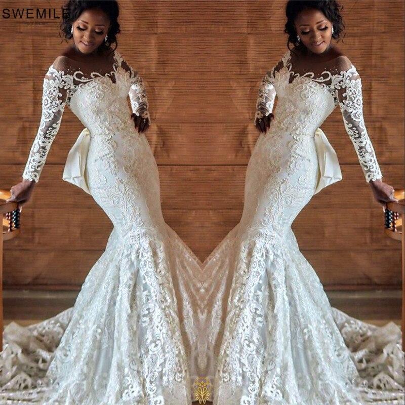 Luxury Mermaid Lace Wedding Dress With Detachable Train Vestido De Noiva Custom Made Bow Tie Back Wedding Gowns Robe De Mariee
