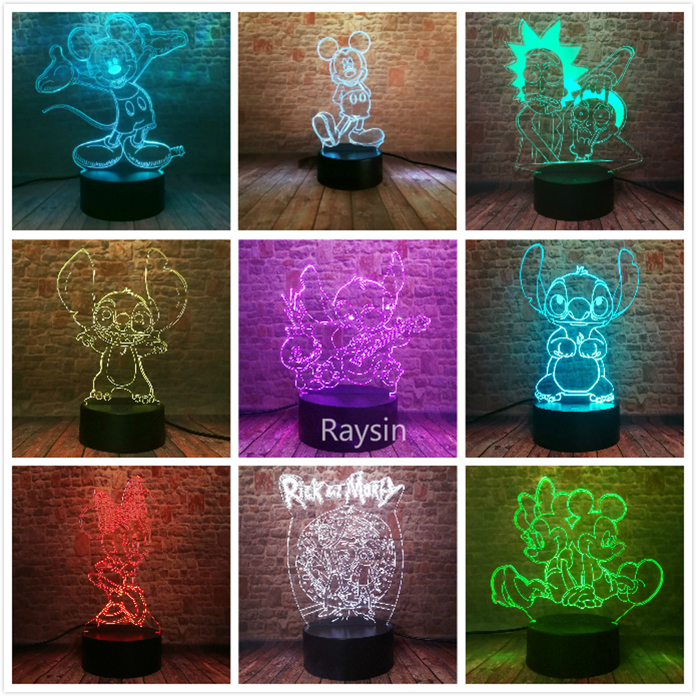 Valentine's Day Gifts Mickey Minnie Stitch Rick And Morty Cartoon Action Figure Touch 7 Colors Change Night Light For Lover Toys