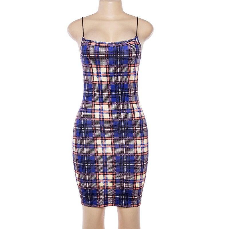 Bangniweigou Retro Plaid Mini Dress Women 90s Street Spaghetti Strap Grid Summer Dress 2019 Checked Sundress Party Short Sheath 3