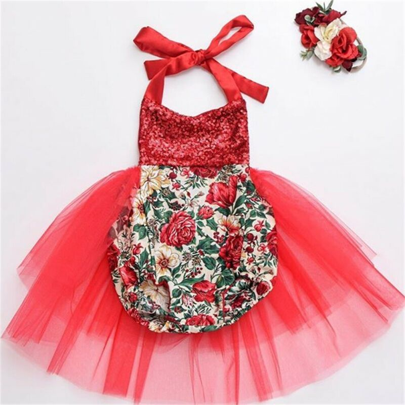 2019 New Toddler Kid Baby Girl Christmas Red Sleeveless Party Tutu Dress Bodysuit Cute Xmas Clothes 0-24M