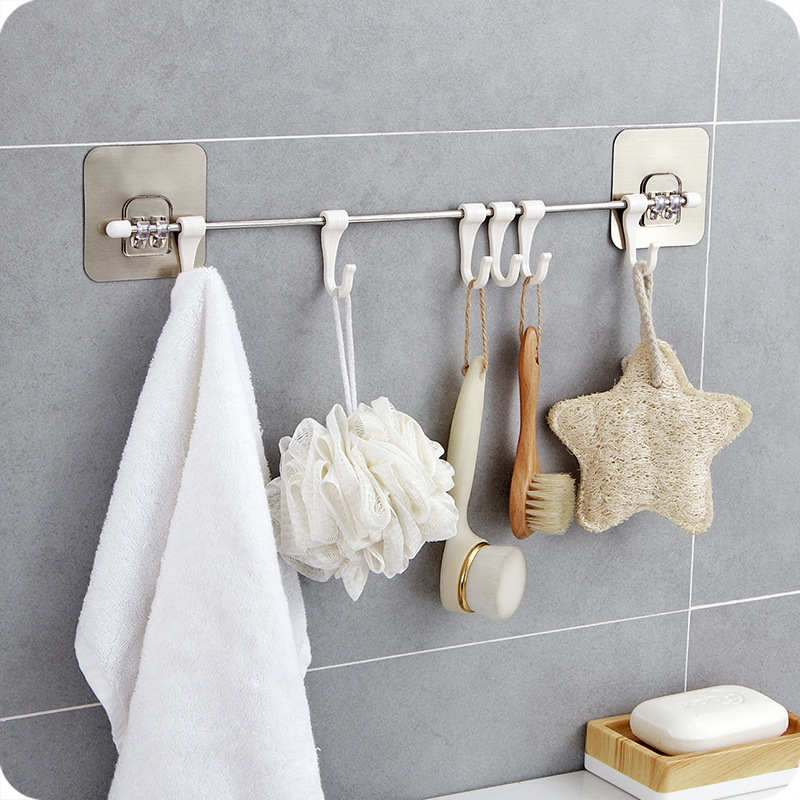 Hooks For Hanging Key Hanger Clothes Holder Kitchen Rails Bathroom Housekeeper Home Organizer Door Adhesive Hook On The Wall