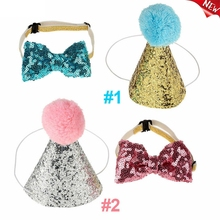 2Pcs/Set Pet Dogs Caps with Bowknot Cat Dog Birthday Costume Sequin Design Headwear Hat Christmas Party Pets Accessories