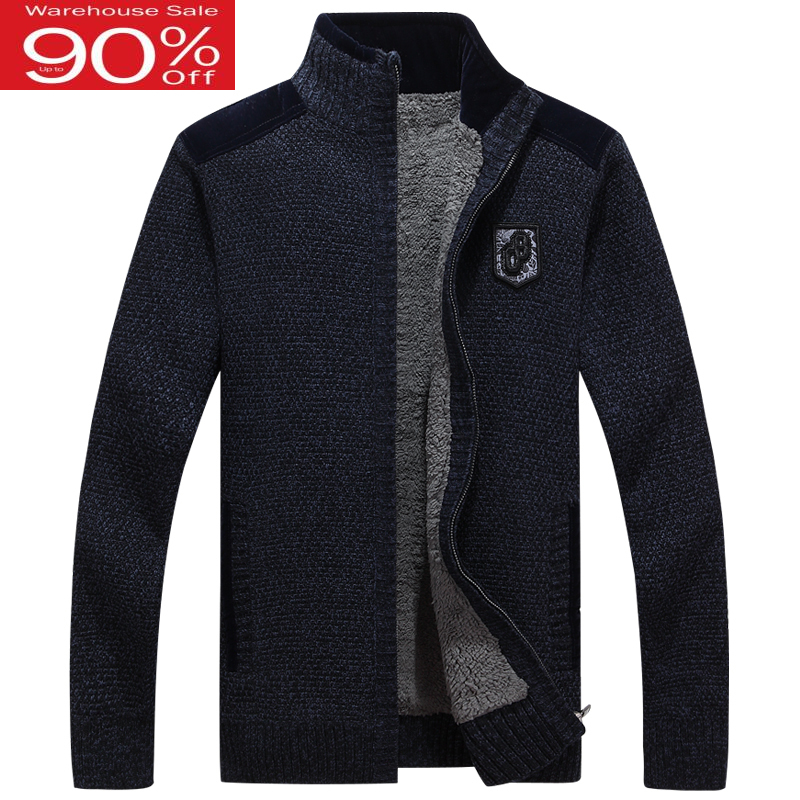 Men Thick Zipper 2020 New Winter Male Plus Velvet Thermal Sweater Teenage Boys Knitted Cardigan Coat Korean Style M33