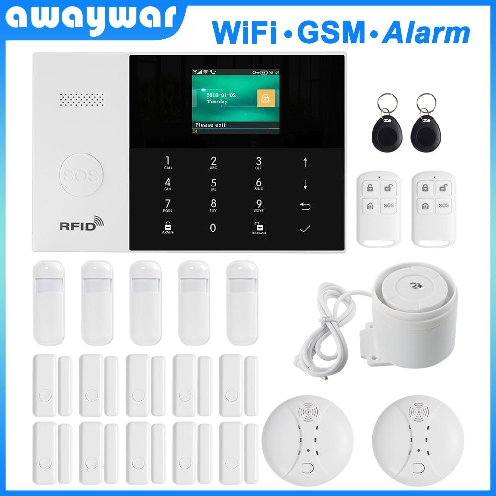 Awaywar 2.4 inch TFT WIFI GSM Security Burglar Alarm System kit APP Remote Control Wireless RFID Arm Disarm with Wired zone