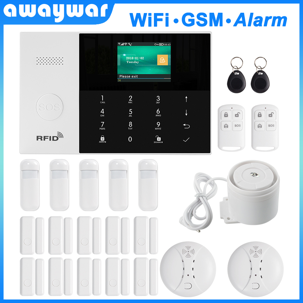 Awaywar 2.4 inch TFT WIFI GSM Security <font><b>Burglar</b></font> <font><b>Alarm</b></font> <font><b>System</b></font> kit APP Remote Control <font><b>Wireless</b></font> RFID Arm Disarm with Wired zone image