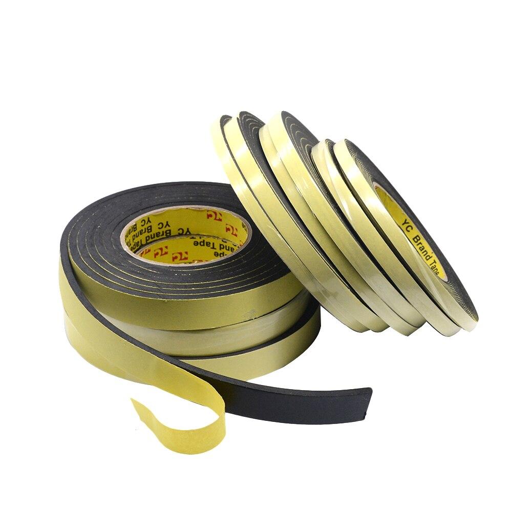 1mm 3mm 5mm Thick Black Foam Sponge Rubber Strip Tape Waterproof Single Sided Adhesive Anti-collision Window Door Seal Strip