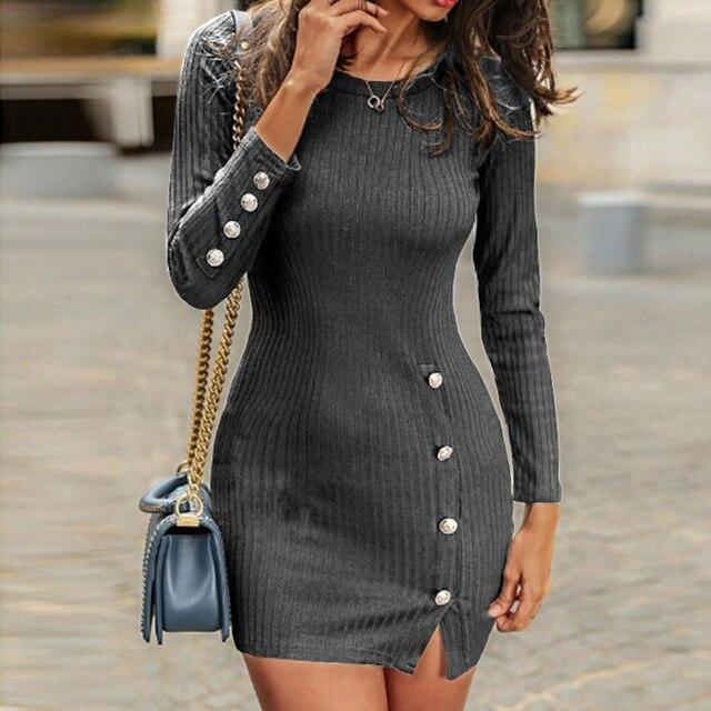 Short Women Dress Long Sleeve 2019 Autumn Winter Sexy Bodycon Mini Dress With Button Slit Plus Size Ladies Casual Black Dress 2