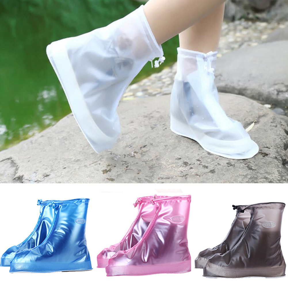 1 Pair Waterproof Protector Shoes Boot Cover Unisex Women Man Zipper Rain Shoe Covers High-Top Anti-Slip Rain Shoes Cases image