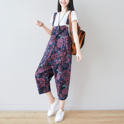 #0355 Cotton Linen Jumpsuits Women Adjustable Strap Full Floral Printed Jumpsuits Loose Oversized Vintage Overalls For Women