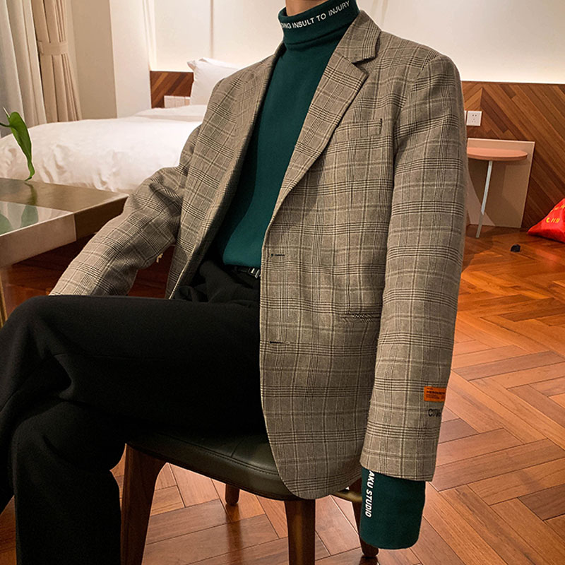 Men Japan Korea Style Vintage Casual Plaid Suit Coat Outerwear Male Streetwear Hip Hop  Blazer Jacket Overcoat