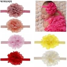 Детские повязки на голову полые шифоновые цветы эластичная Детская повязка на голову с цветком Головные уборы Детские волосы для куклы аксессуары
