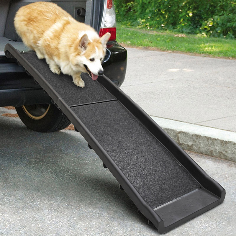 Anti-Skid Pet Ramp Portable Dog Cat Ladder Lightweight Folding With Safe Non Slip Traction Surface Raised Side For Cars PT0168