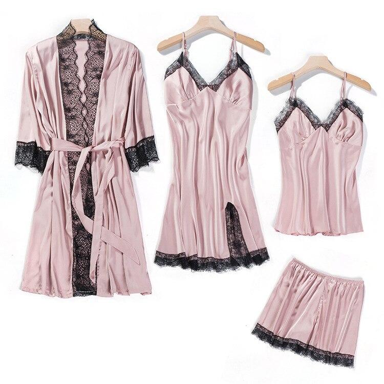 Лето, женские пижамные комплекты, 4 шт, сексуальные кружевные пижамы, женские атласные шелковые пижамы, Элегантная пижама с нагрудными накладками, домашняя одежда