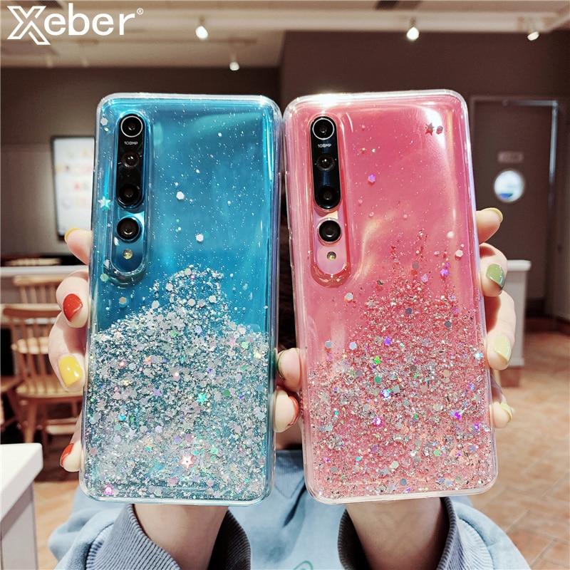 Funda de teléfono para Xiaomi de lentejuelas de lámina dorada y plateada, brillante, Redmi Note 8T 7 6 5 Pro K20 K30 8A 7A 6A 4X Mi 9 SE 8 Lite Mix 3 F1