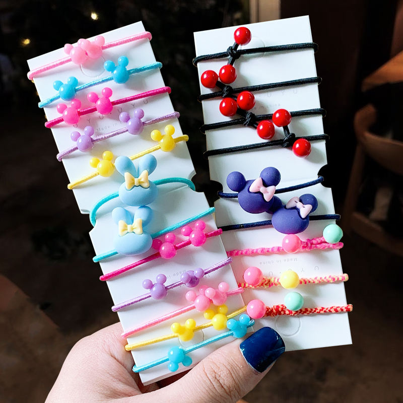 1Set Cartoon Bow Knot Rabbit Ears Girls Hair Accessories  Hair Ropes Baby Mini Headbands Colored Gum Children Rubber Band