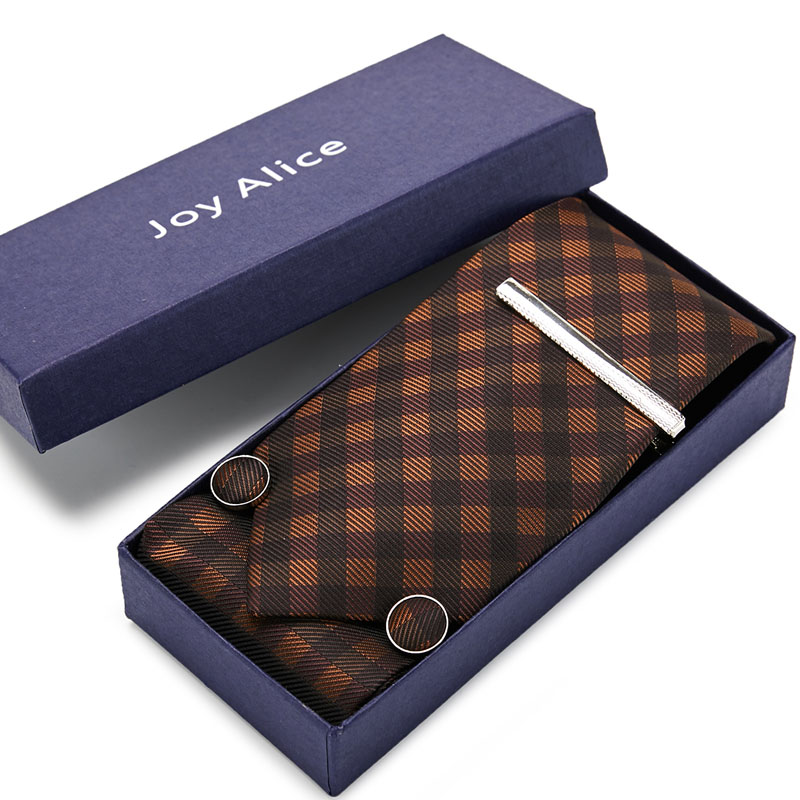 New Brown Plaid Tie Set  Men  Size 145cm*8cm Necktie 100% Silk Jacquard Woven Neck Tie Suit Wedding Party Gift Box