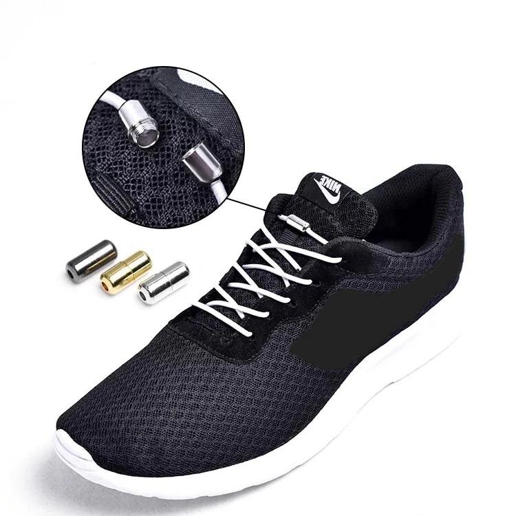 1Pair Sneakers Elastic Locking Round Shoe Laces No Fasten Lazy Shoelace Hot UK