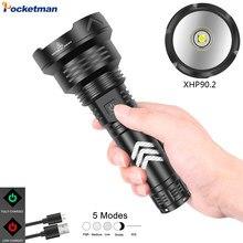300000 lm xhp90.2 plus puissante lampe de poche led torche usb xhp90 rechargeable lampes de poche tactiques 18650 ou 26650 lampe à main xhp90