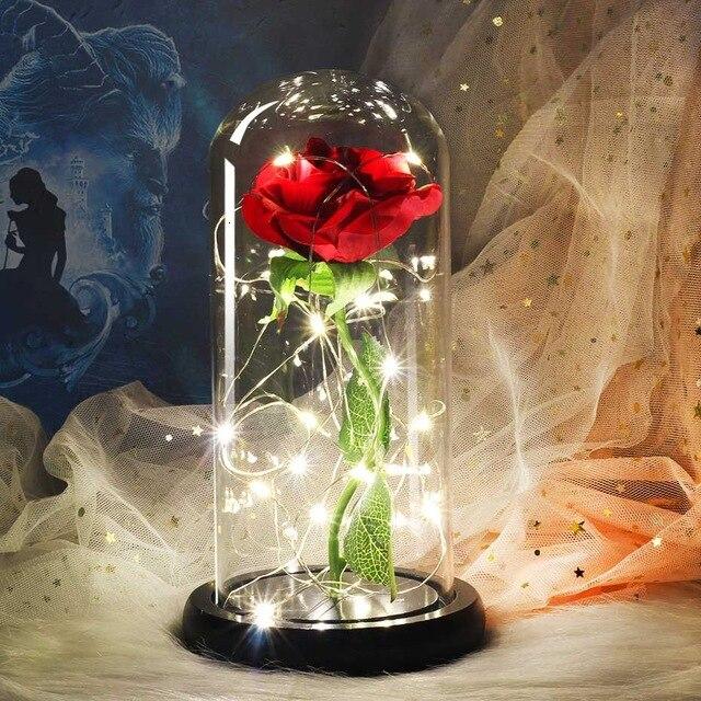 Presente romântico preservado rosa beleza e a besta rosa rosa em cúpula de vidro luz led para sempre rosa rosa vermelha belle preservada rosa