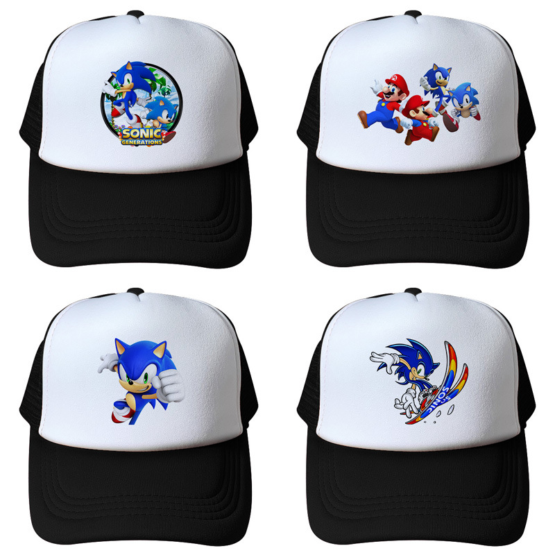 Anime Sonic The Hedgehog Cartoon Youth Adjustable Hip Pop Hat Cap Blue For Boys Sonic Cosplay Party Birthday Christmas Gifts Toy