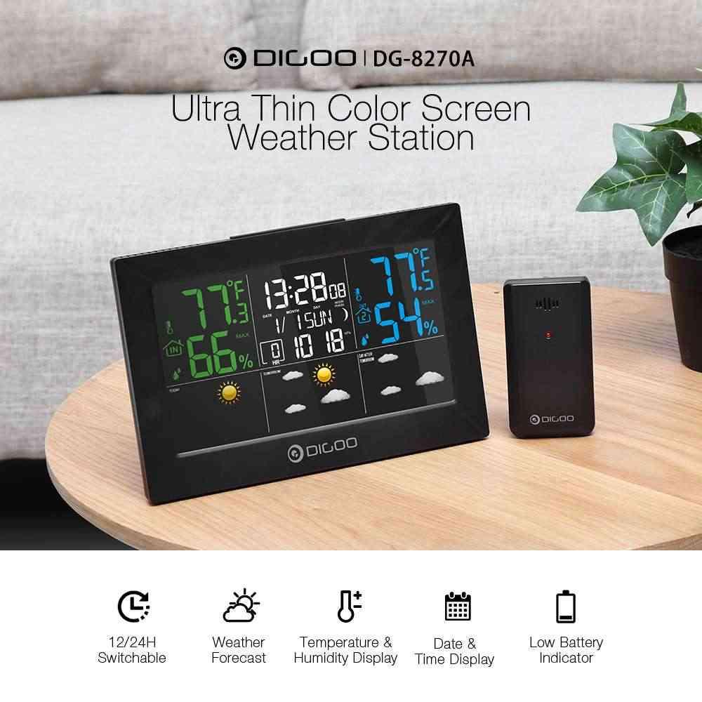 DIGOO DG-8270A Indoor Outdoor Wetter Station + 100m Prognose Sensor Thermometer Hygrometer Meter Kalender 3CH Hintergrundbeleuchtung