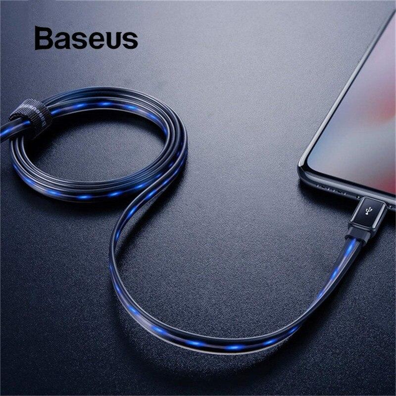 Baseus cabo usb para iphone xr xs max x 2.4a cabo de carregamento rápido usb cabo de carregador de luz led para iphone 8 7 plus cabo de dados