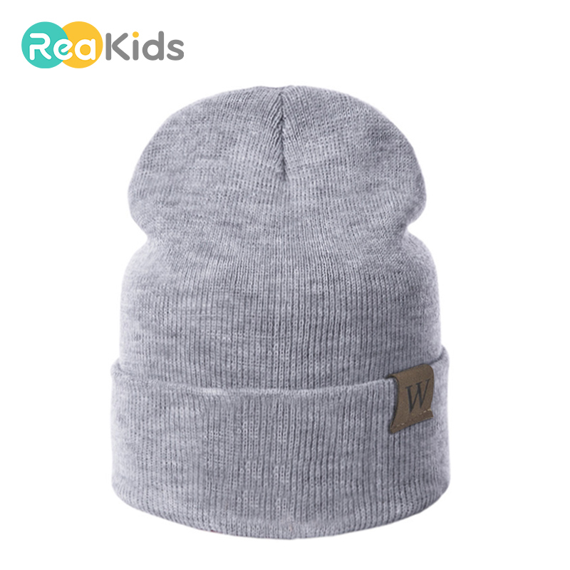 REAKIDS Boys Girls Baby Beanies Hats For Kids Cotton Born Infant Hat Winter Children Hat Knitted Beanies Warm Hat Hot Sale