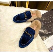 Outono e inverno feminino usar chinelos peludos novos sapatos muller net vermelho 2021 preguiçoso sapatos de pele de coelho plana baotou meia chinelos