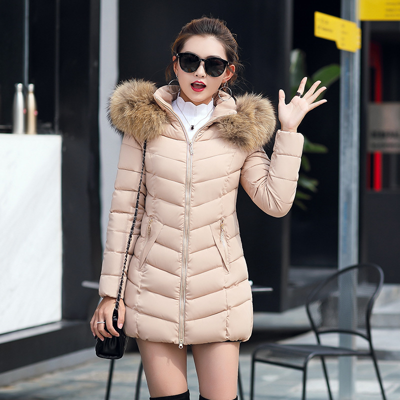 Winter Korean-style New Style WOMEN'S Cotton Padded Clothing Women's Mid-length Slim Fit Cotton-padded Jacket Large Fur Collar D