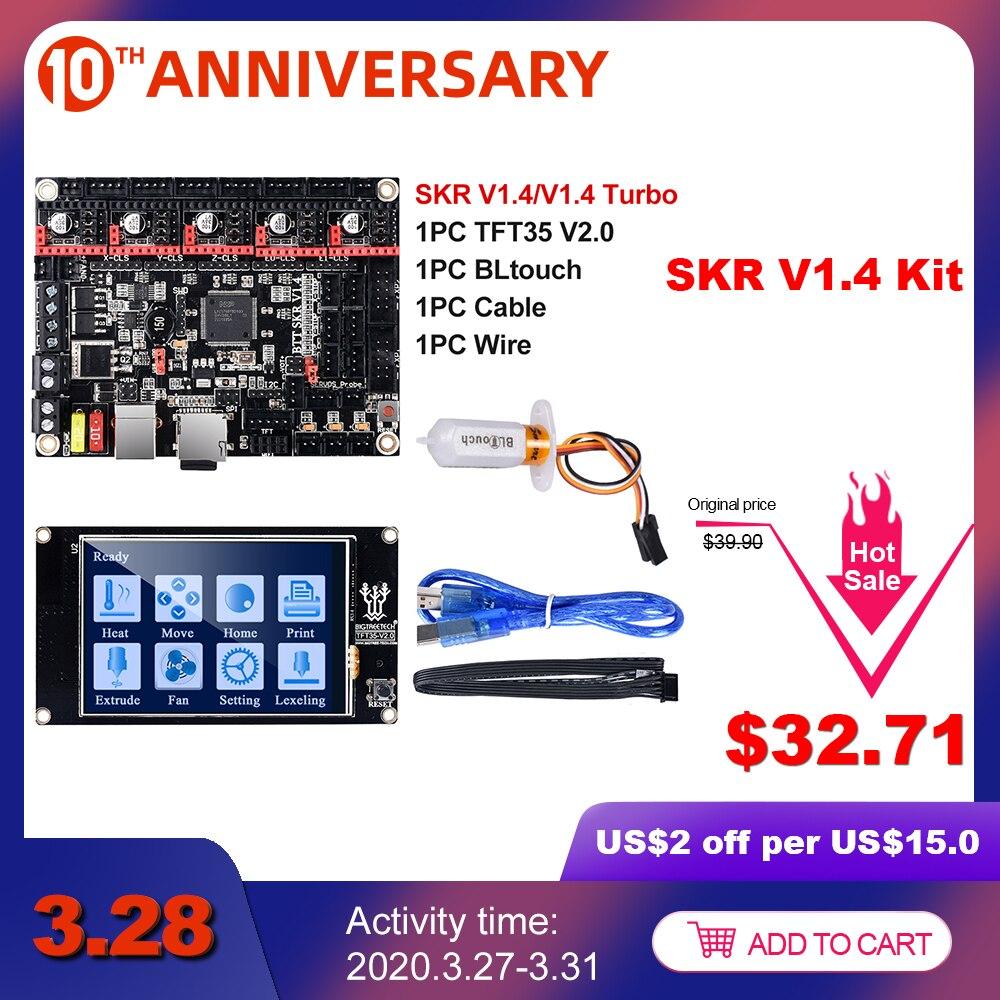 BIGTREETECH SKR V1.4 BTT SKR V1.4 Turbo 32 Bit+TFT35 V2.0+TMC2130 SPI TMC2209 TMC2208 UART BLtouch 3D Printer Parts Vs MKS GEN L