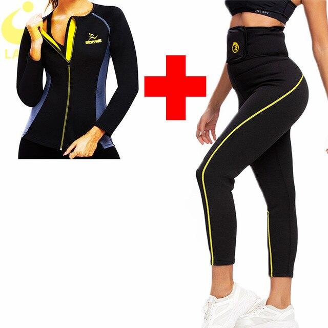 LAZAWG femmes pantalons de Sauna chauds Sweat Leggings pour femmes perte de poids minceur Sweat Shirts chauds Sauna survêtement ensembles Shaper sueur
