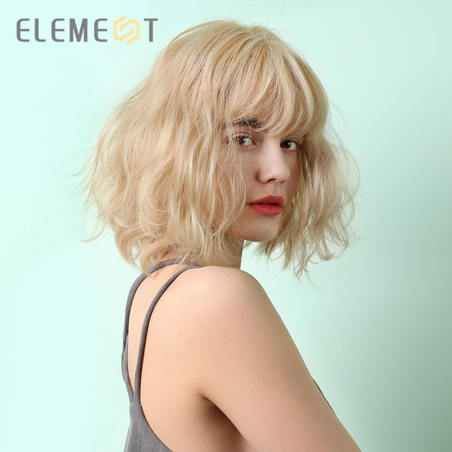 Element Short Natural Wave Hairstyle Synthetic Blonde Cute Bob Wigs with Air Bangs for White/Black Women Party