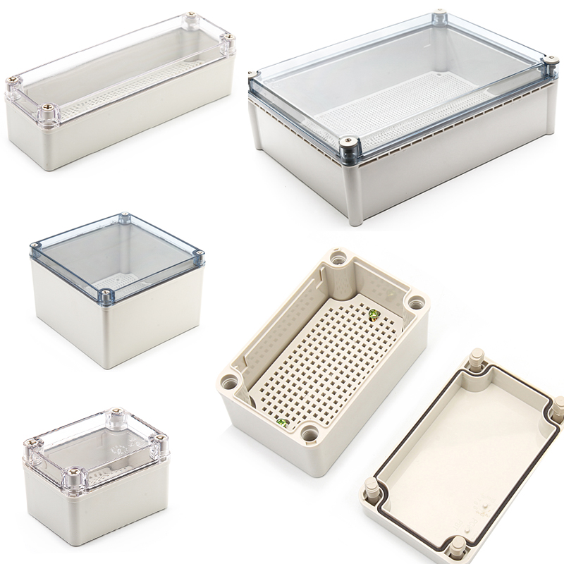 IP67 Waterproof Plastic ABS Housing For Electronics With Mounting Board Electrical Transparent Cover Enclosure Junction Box Case