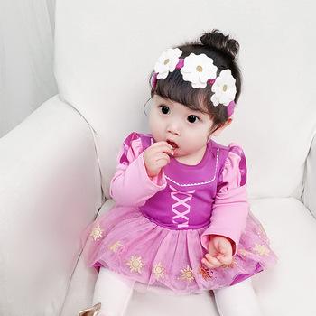 """Letnie ubrania dla dzieci w wieku 3-18M Newborn Baby dziewczyny ubrania sukienka """" princeska """"z długimi rękawami pajacyki Tutu śliczne kombinezon dla dzieci Tutu sukienka 2021 tanie i dobre opinie COTTON CN (pochodzenie) Kobiet W wieku 0-6m 7-12m 13-24m Drukuj Z okrągłym kołnierzykiem Jednorzędowe Śpioszki Pełne"""