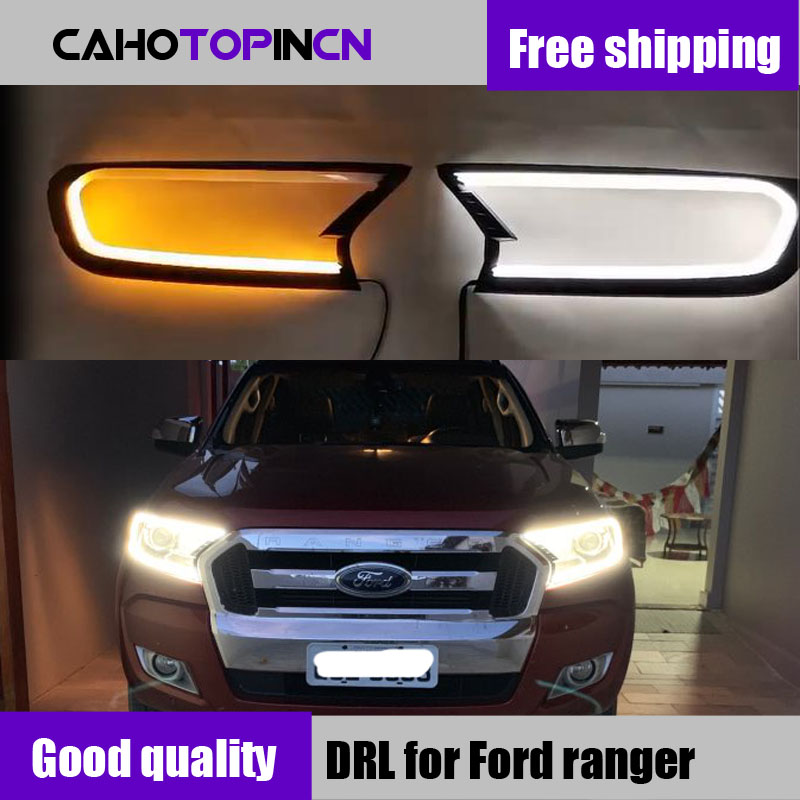 DRL LED daytime Headlight cover for ford ranger T7 2016   2018 accessories for ford ranger everest endeavour 2017-in Car Light Assembly from Automobiles & Motorcycles    1