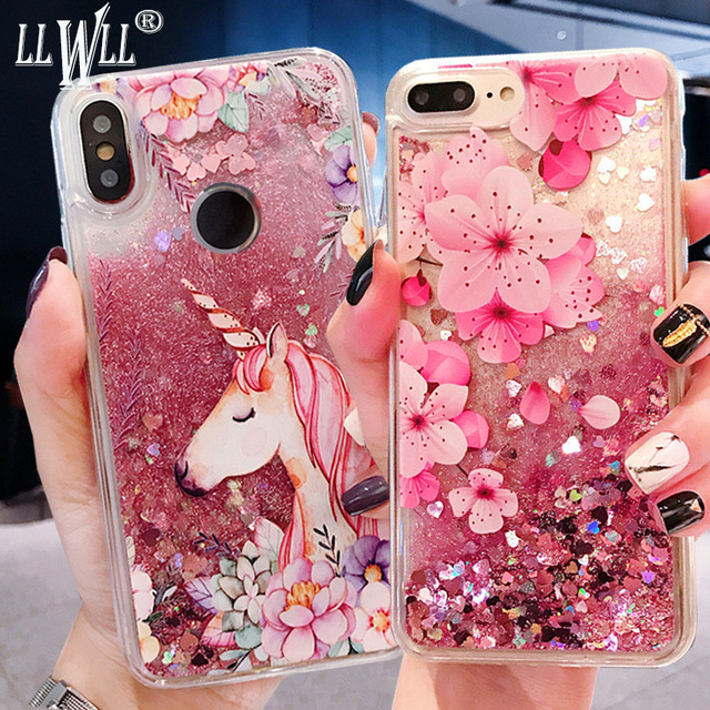 Unicorn Quicksand Case For Samsung Galaxy A9 A8 A7 A6 Plus 2018 A3 A5 A7 2017 2016 Glitter Liquid Case For Samsung A7 2018 Cover image