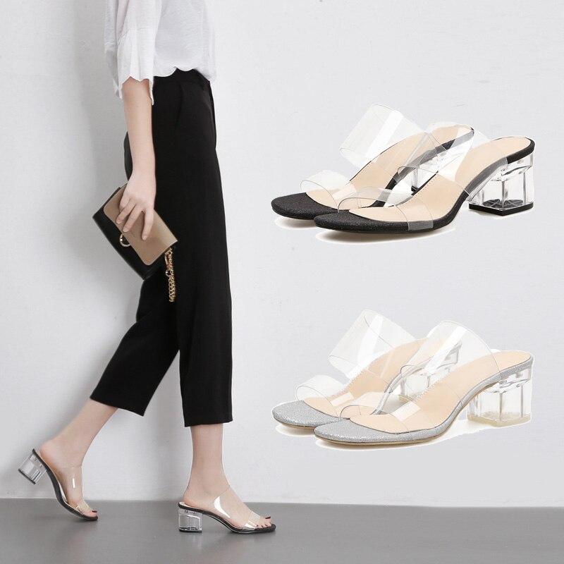 Купить с кэшбэком NIUFUNI 2 Colors PVC Jelly Sandals Slides Square Peep Toe High Heels Women's Transparent Crystal Slippers Clear Shoes Size 35-40