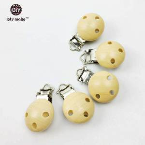 Baby Clip Pacifier-Clip Teething-Toys Wood Dummy Let's-Make DIY Natura