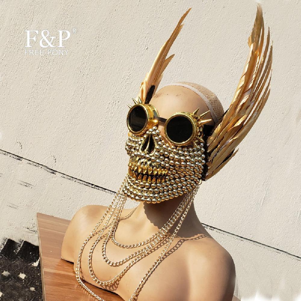 Burning Man Festival Gold Skull Feather Googles Mask Carnival Costume Gogo Dancer  Halloween Accessories
