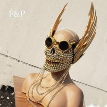 Burning Man Festival Gold Skull Feather Goggles Máscara Carnaval Disfraz Gogo Dancer